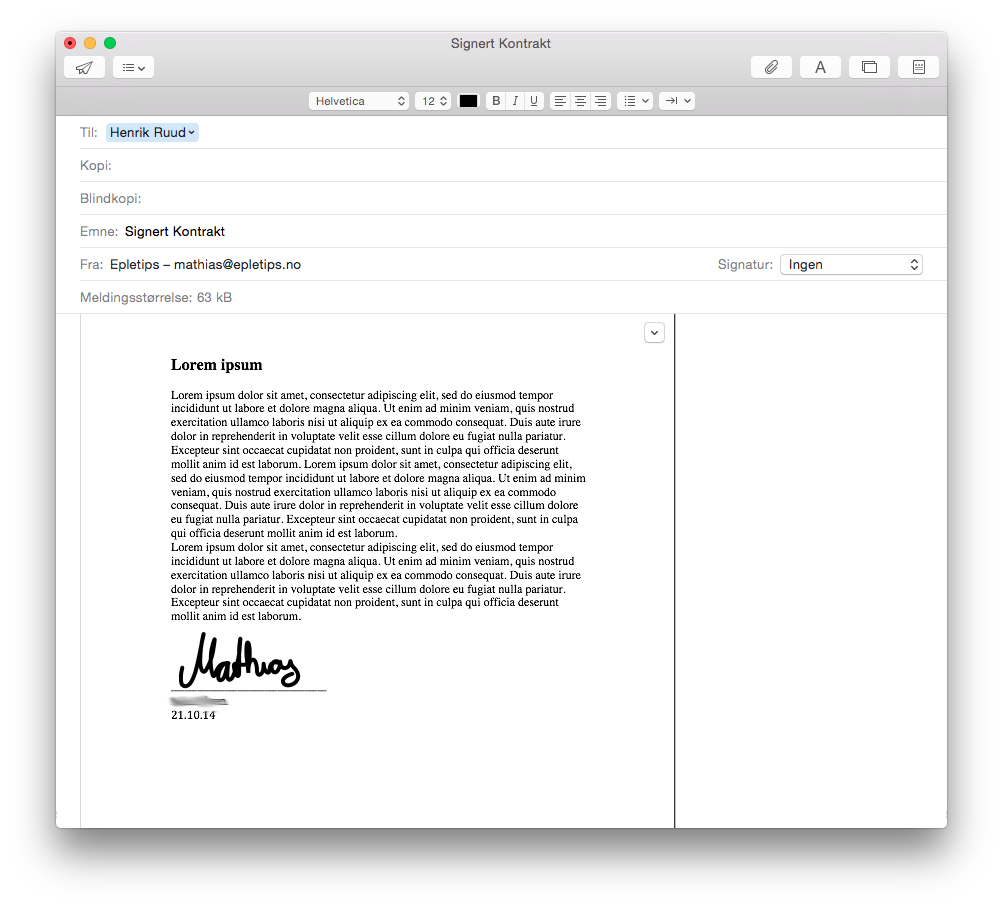 signere dokumenter i apple mail